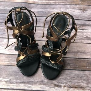 Charles David Chunky Heel Strappy Sandals